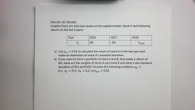 Excercises to Stocks and Risk