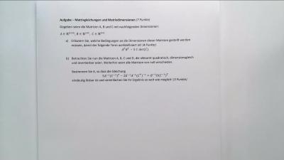 Aufgabe Matrixgleichungen und Matrixdimensionen