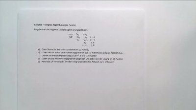 Aufgabe Simplex-Algorithmus