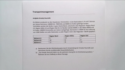 Aufgabe Transportmanagement