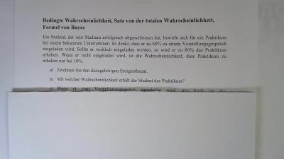 Aufgabe Wahrscheinlichkeit, Satz der totalen Wahrscheinlichkeit, Satz von Bayes