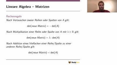Lineare Algebra - Rechenregeln Matrizen
