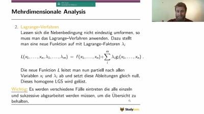Mehrdimensionale Analysis - Extrema unter Nebenbedingung