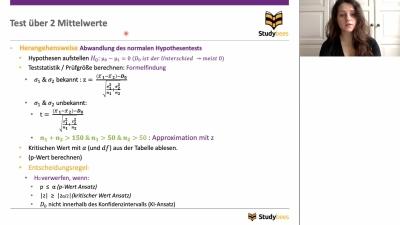 Unabhängigkeitstest: Test über 2 Mittelwerte