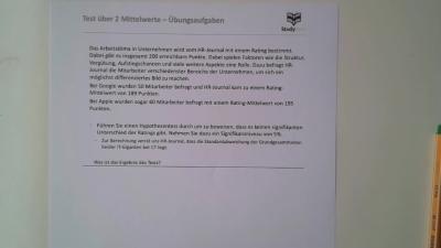 Aufgabe: Unabhängigkeitstest - Test über 2 Mittelwerte