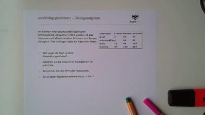 Aufgabe: Unabhängigkeitstest