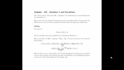Aufgabe KQ 1 und Korrelation