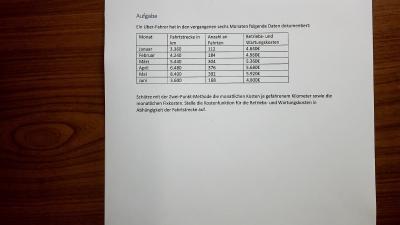 Aufgabe Kostenverläufe und Ermittlung von Kostenfunktionen