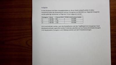 Aufgabe Kalkulation