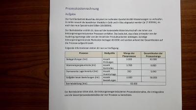 Aufgabe Prozesskostenrechnung