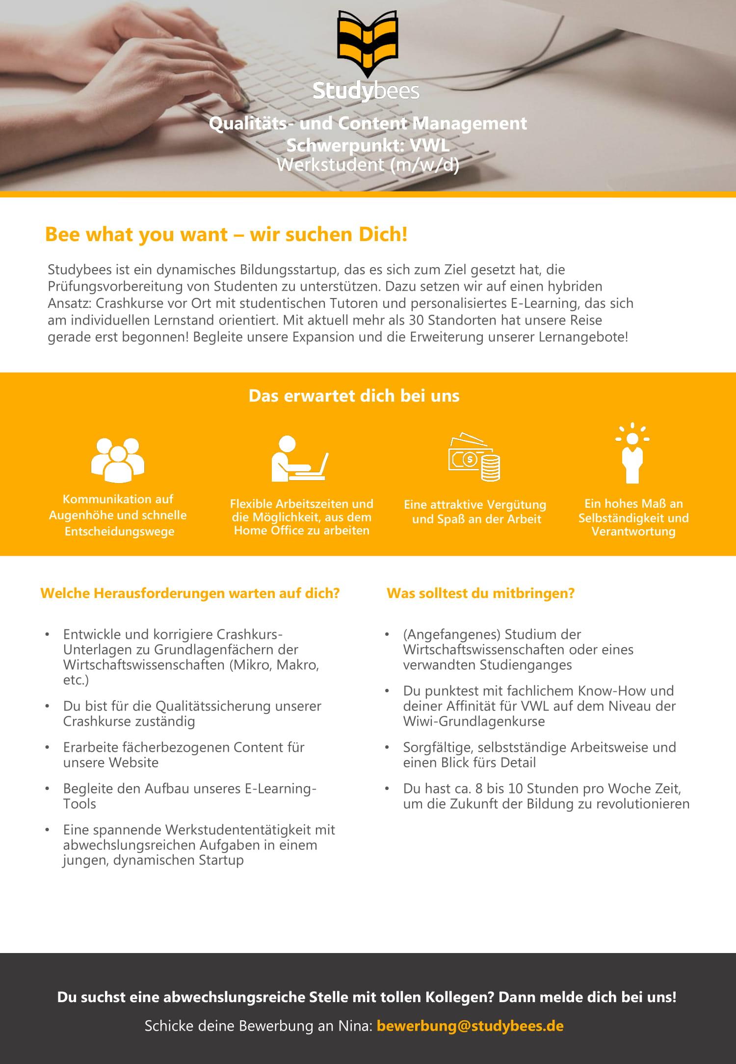 Werkstudent Qualitäts- und Content Management mit Schwerpunkt VWL (m/w/d)