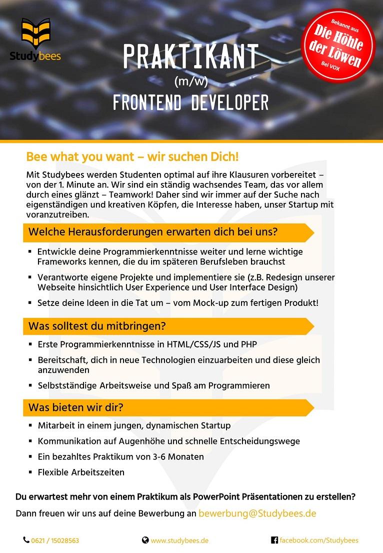 Praktikant Frontend Developer (m/w/d)