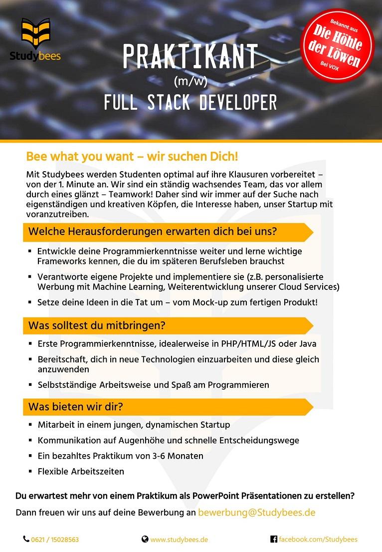 Praktikant Full Stack Developer (m/w/d)