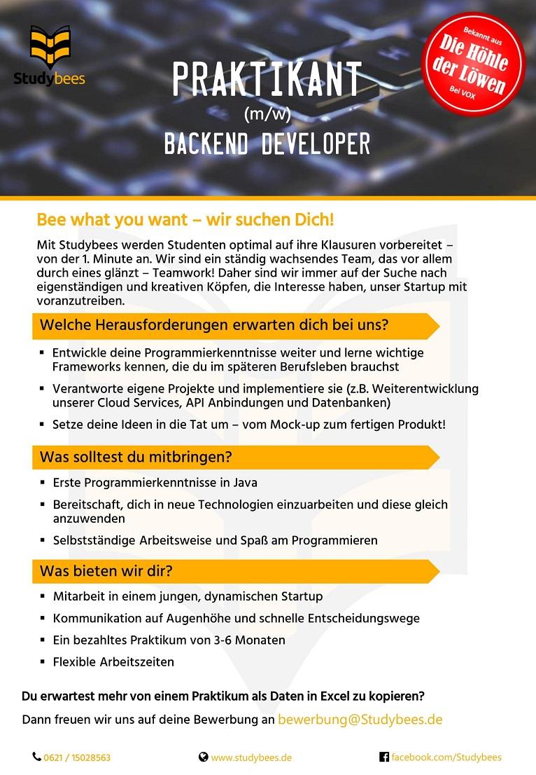 Praktikant Backend Developer (m/w/d)