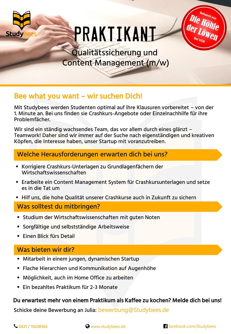 Praktikant Qualitätsmanagement (m/w/d)