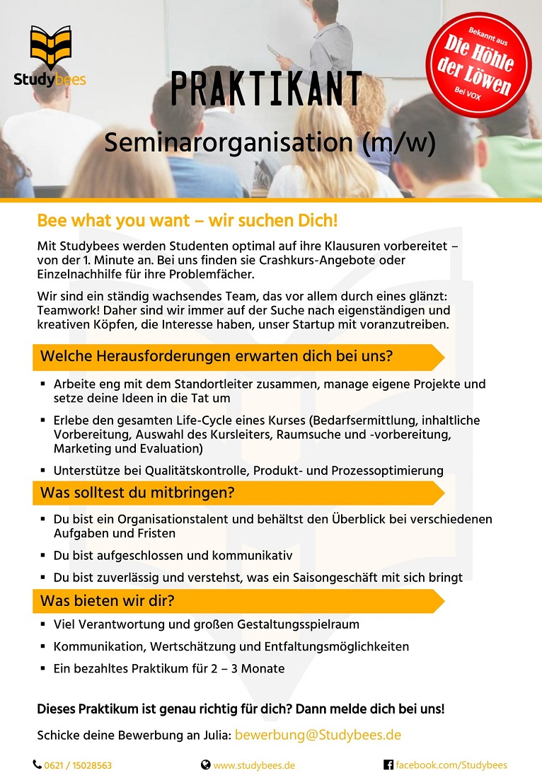 Praktikant Seminarorganisation (m/w/d)