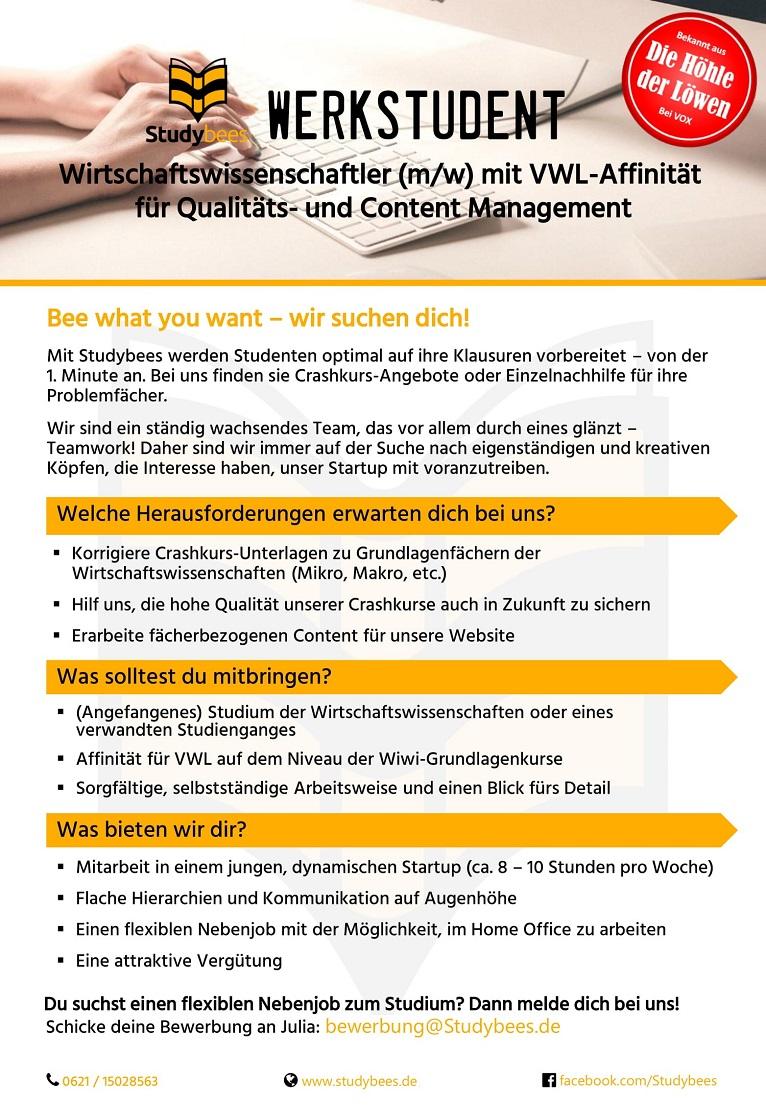 Werkstudent Qualitätsmanagement mit Schwerpunkt VWL (m/w/d)